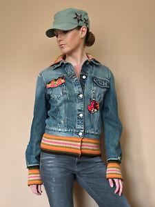 best selling cute wholesale Miss Sixty Y2K Denim Jersey Trim Denim Jacket With Sequin Patch ...