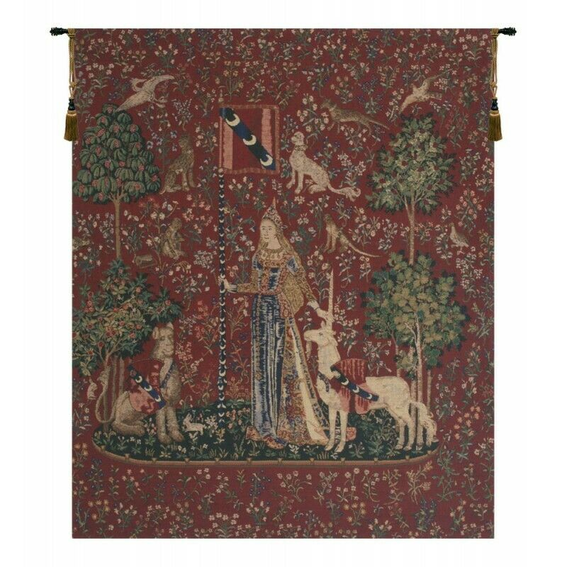 Touch, Lady and Unicorn European Tapestry Wall Hanging