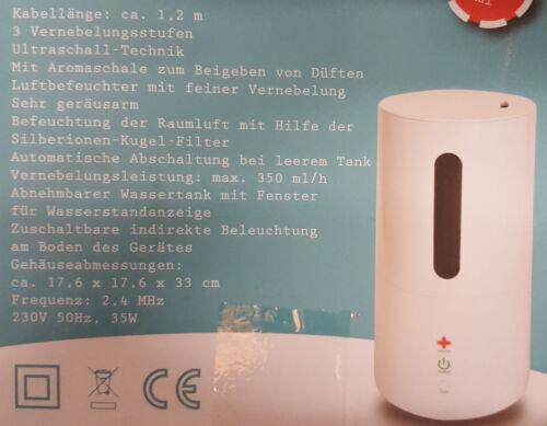 Humidifier Luftbefeuchter mit feiner Vernebelung 3 Stufen Befeuchter Vernebler
