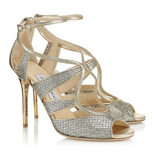 Image Is Loading Jimmy Choo Kelsey Gold Silver Glitter Y Eu