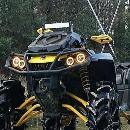 Can Am Outlander Gen 2 Halos rings lights set 4 YELLOW also XMR s Canam
