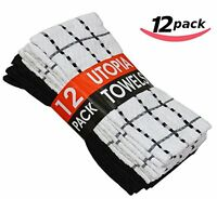 Utopia Kitchen Towels 15-inch X 25-inch, 100% Cotton, 12-pack, Black And White , on sale