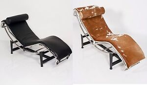 POLTRONA CHAISE LONGUE DESIGN BAUHAUS REPLICA LCLE CORBUSIER CHAIR ...