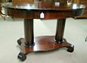 Oval-Library-Table-Dual-Post-Legs-Mersman-Celina-Ohio-Quality-Mahogany