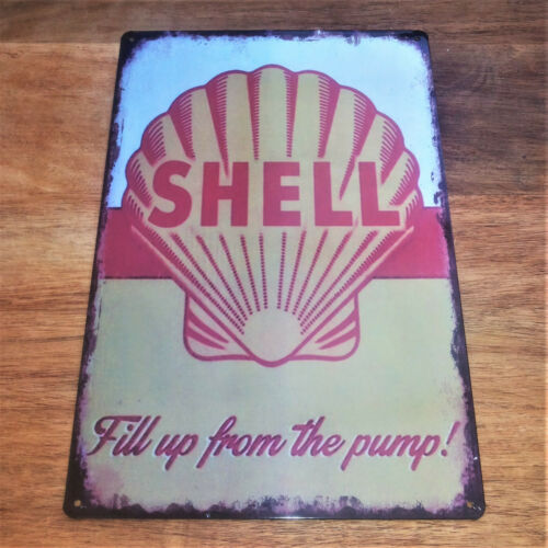 Shell Fill up from pump Retro Tin sign Metal plaque garage petrol oil gas decor