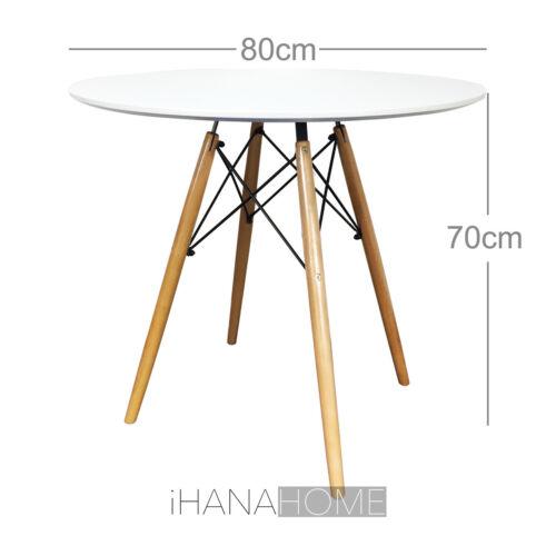 DSW round table à manger lounge bar designer moderne noir ou blanc 60 ou 80 cm