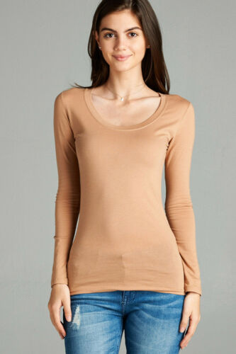 Womens T Shirt Scoop Long Sleeve Active Basic Stretch Light Weight Top S//M//L