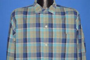 vintage-60s-PILGRIM-BLUE-GREEN-PLAID-LOOP-COLLAR-SQUARE-BOTTOM-REPAIRS-SHIRT-L