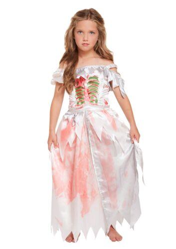 Girls ZOMBIE Kids Gothic Ghost Skeleton Bride Costume Fancy Dress Halloween UK