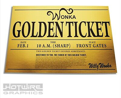 Willy Wonka Golden Ticket Laminated Charlie And The  Chocolate Factory
