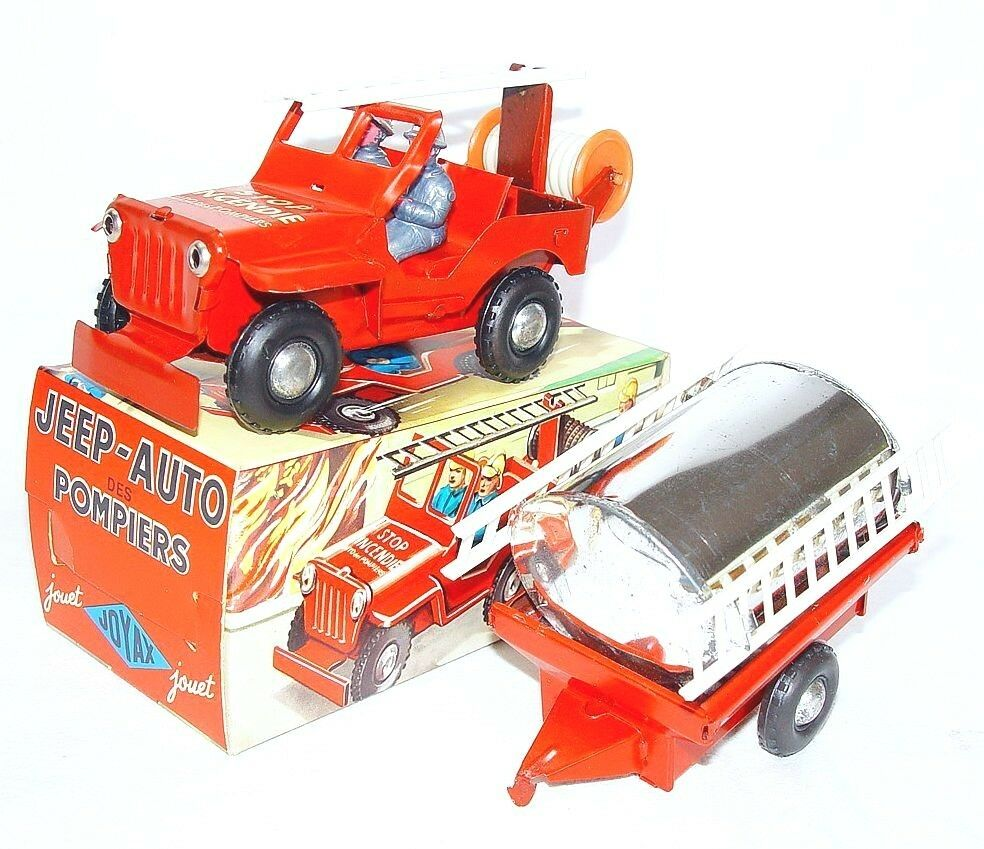 Jouet JOYAX 1 28 Willys Jeep  Enforcement  + remorque Fire Service Tin Toy voiture MB`70
