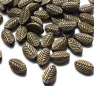 50-x-Bronze-Tone-Metal-Leaf-Spacer-Beads-9-5mm-x-5mm-Jewellery-Craft-Leaves