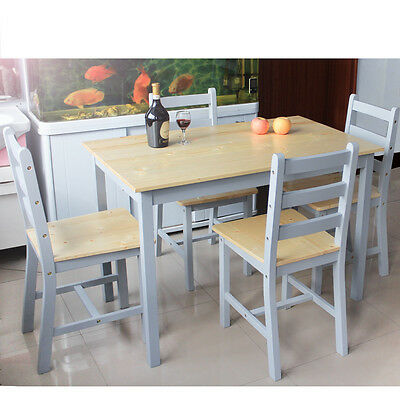 New Stylish Wooden Dining Table and 4 Chairs Set Contemporary  Kitchen Furniture