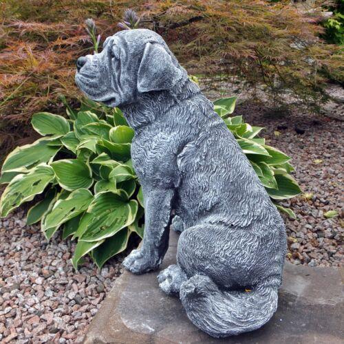 Steinfigur Hund Sint Bernard Bernhardiner frostfest Steinguss Gartenfigur