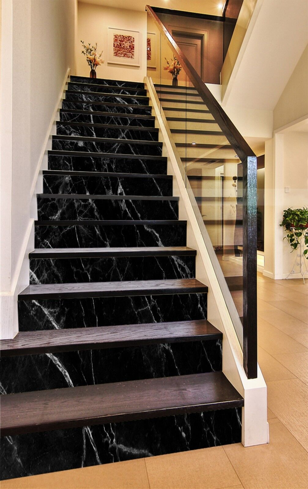 3D Rein Schwarz 89 Fliese Marmor Stair Risers Fototapete Vinyl Aufkleber Tapete