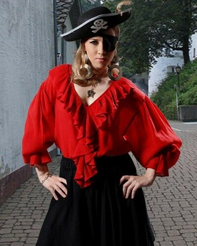 Pirate Shirt Adult Ladies S/M-XXXL Red Black Rayon Crepe Ruffles NEW (C1019)