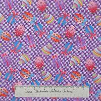 Easter Fabric - Hallmark Occasions Eggs Toss Purple White - Free Spirit Yard