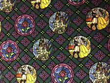 DISNEY BEAUTY AND THE BEAST STAINED GLASS BADGES FABRIC CP65422