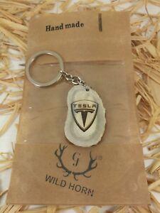 Tesla Antler Horn Keyring Key fob Deer Elk Stag Keychain ...