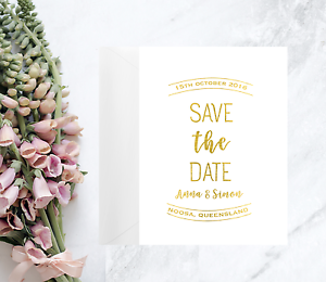 Details About Gold Foil Save The Date Invitation Cards Wedding Invitation Pre Invite Card