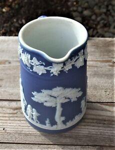 "Wedgwood England  Antique Jasperware Cobalt Blue Miniature Pitcher Creamer * 4"""