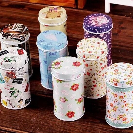 Retro Home Flower Bear Sewing Girl Metal Toothpick Holder Container Jar Tin Box