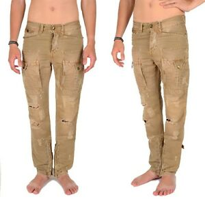 88bd2daec2 Image is loading JUST-CAVALLI-BY-ROBERTO-CAVALLI-DISTRESSED-CARGO-PANTS-