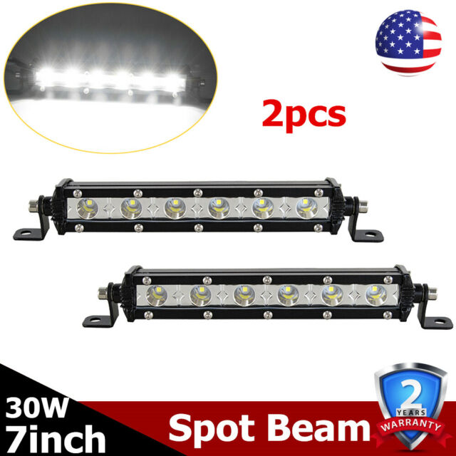 """2X 7/""""inch 30W Led Light Bar Spot Lamp Offroad Truck Ford SUV 4D Lens Single Row"""
