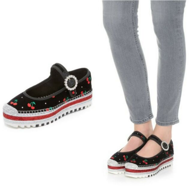 81ca45ceac5 Frequently bought together. Marc Jacobs Suzi Cherry Multi-Color Mary Jane  Espadrilles Platform ...
