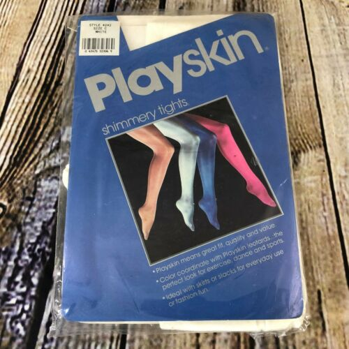 Playskin Shimmery Tights White Style 4242 Size C Vintage 1985