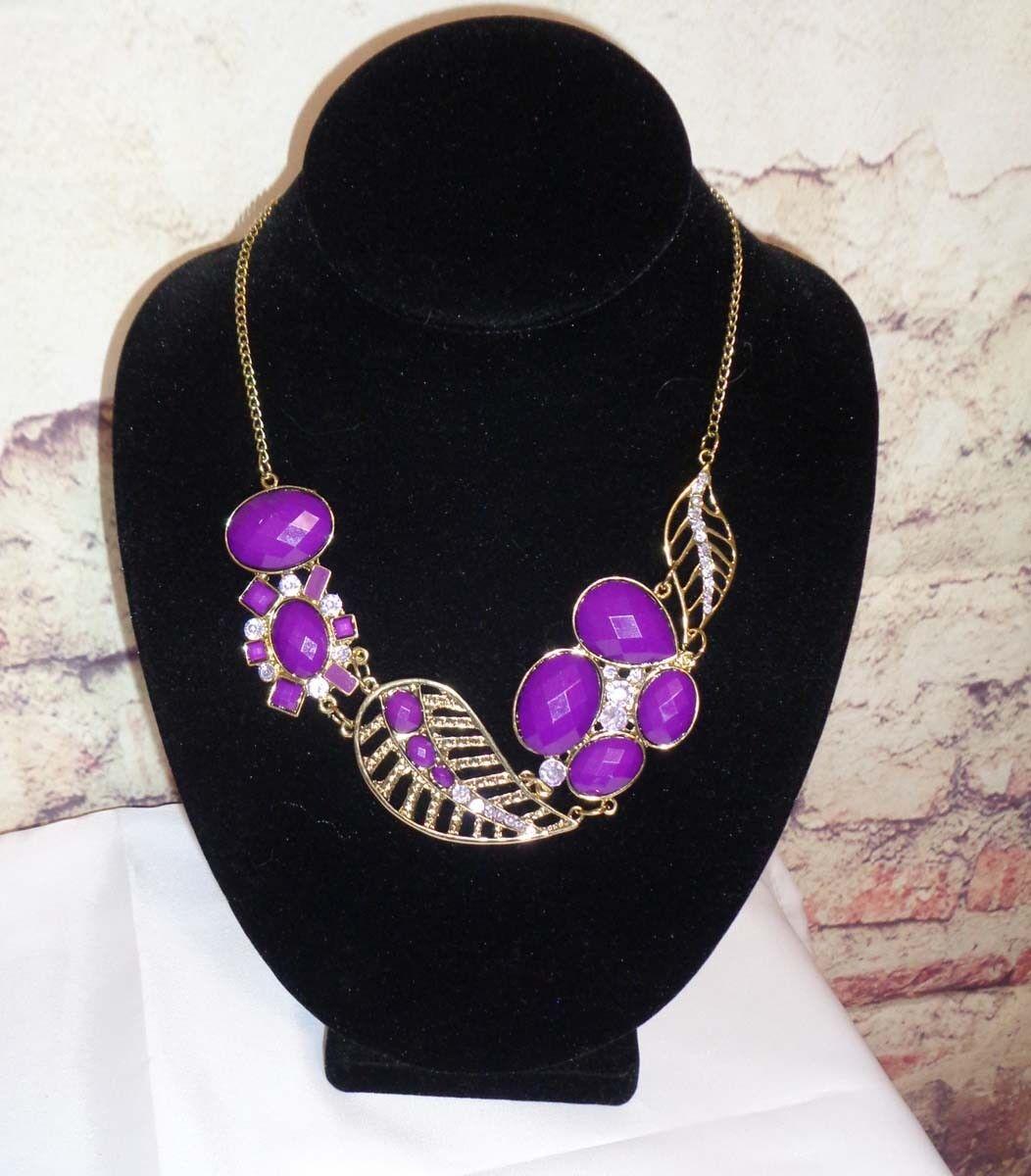 Necklace Gold Finish Purple Leaf Design Very Classy