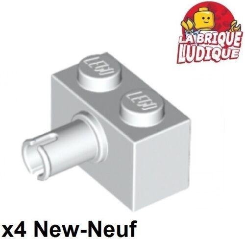 4x Brique Brick modified 1x2 Pin blanc//white 2458 NEUF Lego