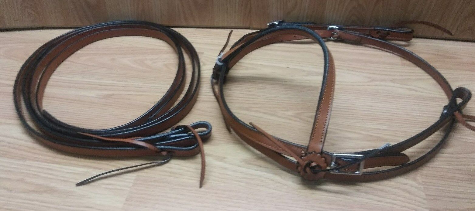 Simple TanMarronee Leather Horse Bridle  Reins Set