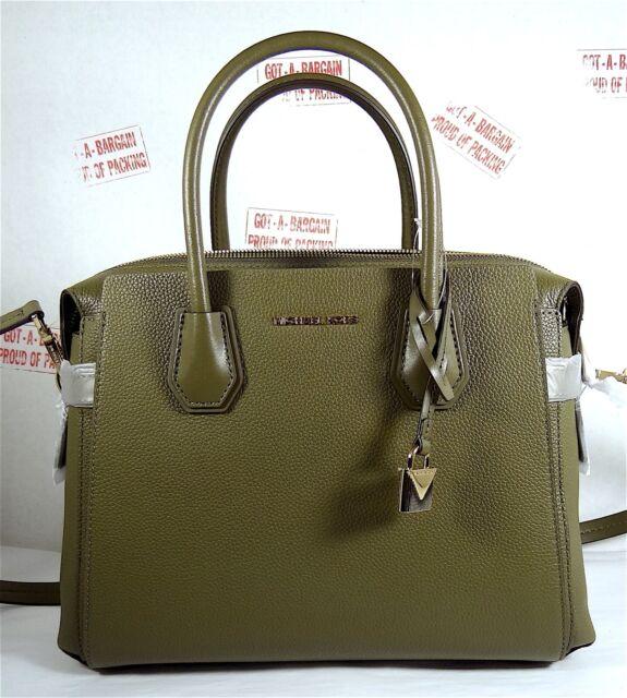 Michael Kors Mercer Belt Pebbled Leather Medium Satchel Bag in Olive Green