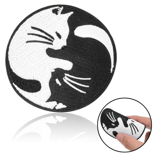 CAT YIN YANG WHITE AND BLACK EMBROIDERED IRON ON PATCH PATCHES SEW APPLIQUE DIY