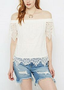 bd6c686755873 rue 21~New With Tags~ White Eyelash Lace Off-Shoulder Top-Size ...