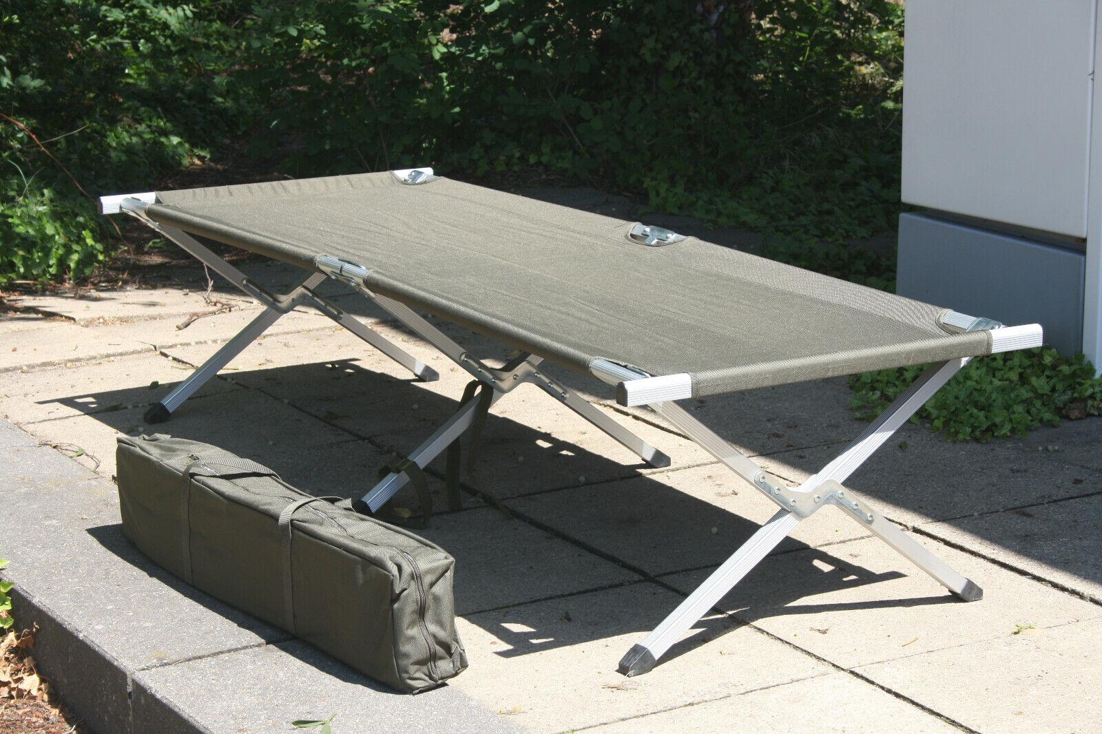 Feldbett Klappbett mit Tasche Campingbett Gästebett Faltbare Liege XL Bett 120KG