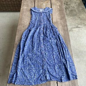 Tween-Girls-April-Cornell-Blue-Paisley-Longer-Length-Dress-Size-9-10-Buttons