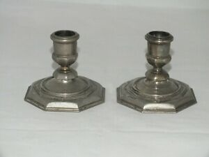 ANTIQUE-PAIR-OF-OCTAGONAL-SILVER-PLATED-CANDLESTICKS-EPNS-ENGLAND