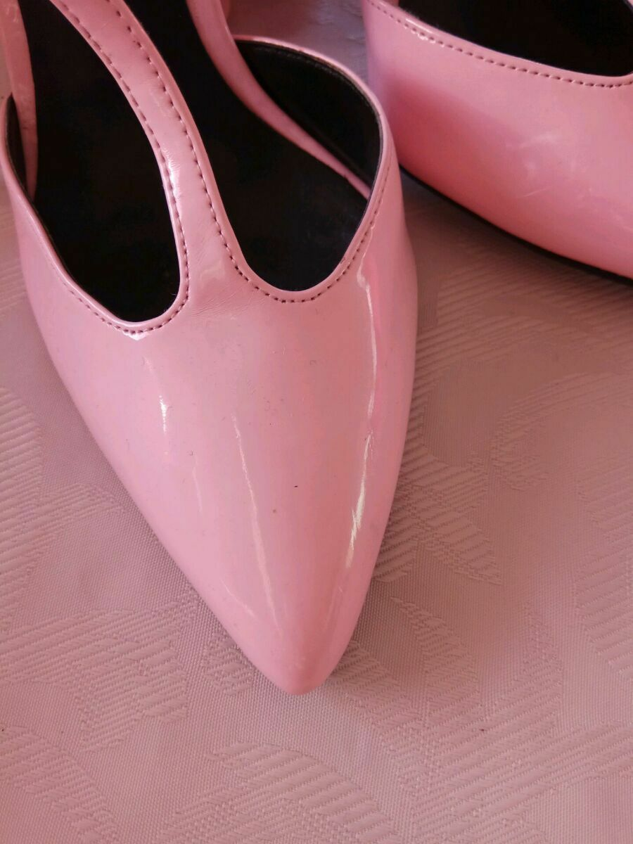 ZARA PINK FAUX LEATHER HIGH HEEL POINTED POINTED POINTED T BAR ANKLE STRAP SHOES SIZE EU 38,UK 5 7e613c