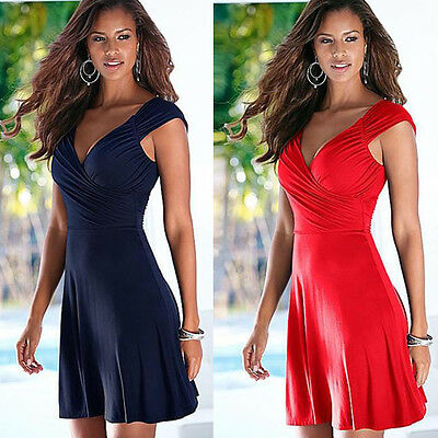 Sexy Women V-Neck A-Line Sleeveless Backless Cocktail Evening Party Mini Dress