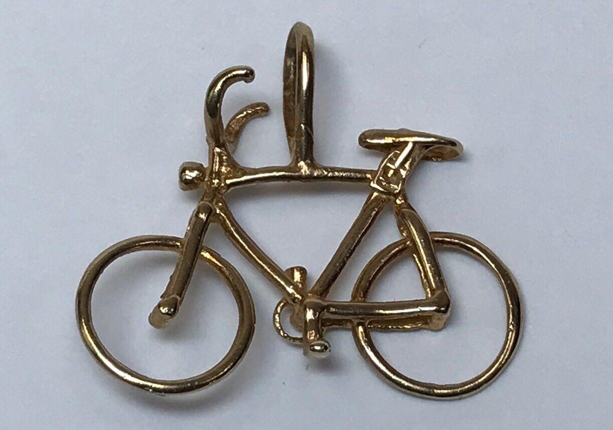 14K YELLOW gold BICYCLE CHARM PENDANT BIKE BIKER BIKING