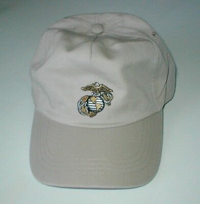 HAT WITH USMC Small Emblem  Gold & Silver Thread, Low  Profile Style Khaki Hat
