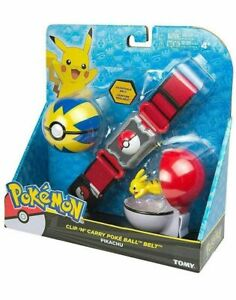 "Pokemon TOMY Clip N' Carry Adjustable Belt w/ 2"" Pikachu + Pokeball & Quick Ball"