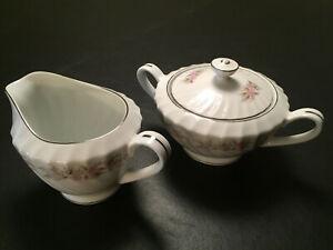 Teahouse-Rose-Dansico-Vintage-Fine-China-Creamer-Lidded-Sugarbowl-Japan