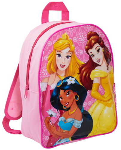 Disney Princess School Backpack With Mesh Side Pocket Girls Rucksack Lunch Bag