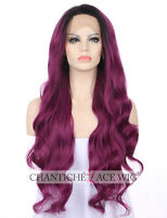 Purple Front Lace Wigs Heat Resistant Synthetic Hair Long Wavy Wig For Women 24