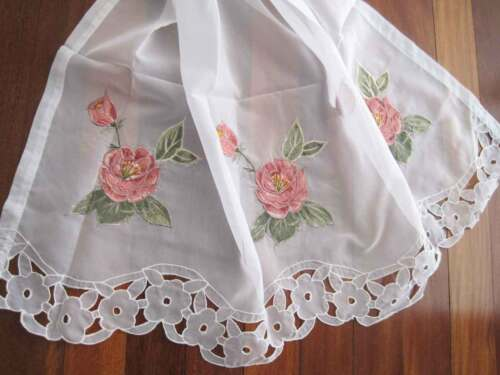 Pair of Pretty Pink Rose Applique Embroidery Cutwork White Sheer Curtain