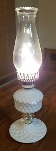 Vtg-White-Milk-Glass-Electric-Lamp-w-Quilted-Diamond-pattern-amp-Clear-Chimney