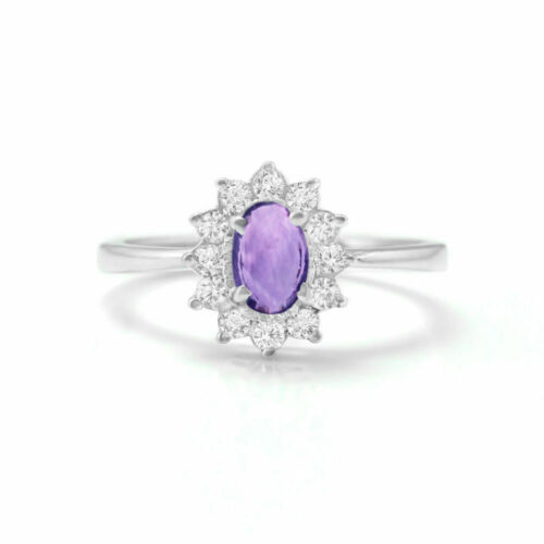 925 Sterling Silver Ring Natural Purple Amethyst Halo Star Size H to P